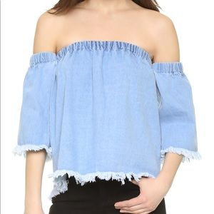 J.O.A Frayed Denim Cold Shoulder Blouse